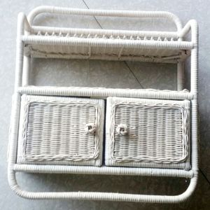 Vintage Midcentury white wicker storage unit